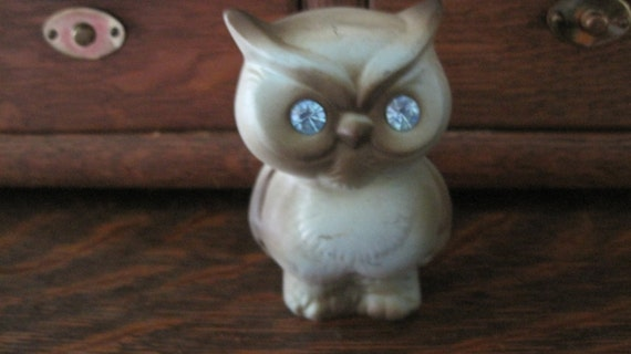 Fun & Funky Vintage Mint Green and Brown Owl with Blue Rhinestone Eyes