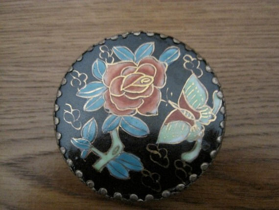 Vintage Silver Trinket/Pill Box with Flower and Butterfly Top