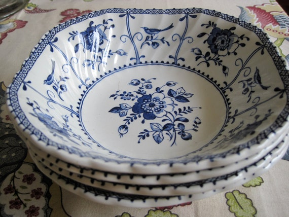 Johnson Bros. Indies Blue Ironstone Square Cereal Bowls (4)
