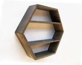 Hexagon Wall Shelf - Deep Dark Brown - size LARGE