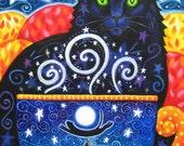 Autumn Magic 8x10 Colorful Black Cat Coffee Print