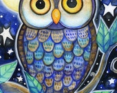 Night Owl  - 5x7 Whimsical Owl Moon Stars  Print