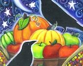 Autumn Harvest - 8x10 print - by Brenna White - moon stars fall autumn halloween raven crow thanksgiving