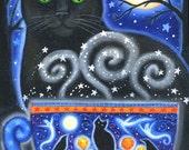 Halloween Magic 2009 - 7 x 9 1/2 inch print - by Brenna White - moon stars fall autumn halloween black cat coffee