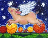 Fall Pig - colorful whimsical autumn fall flying pig PRINT by Brenna White