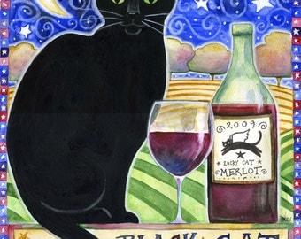 Black Cat Winery  - 8x10 Black Cat Moon Star Wine Print