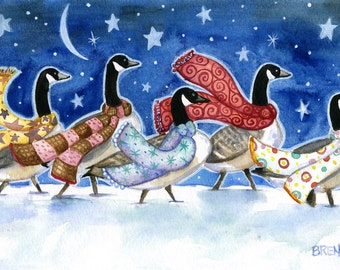 Winter Travelers - 6x9 Whimiscal Winter Canada Geese Print
