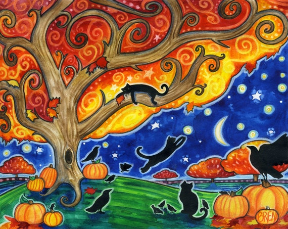 Items Similar To Shelter 8x10 Colorful Autumn Black Cats