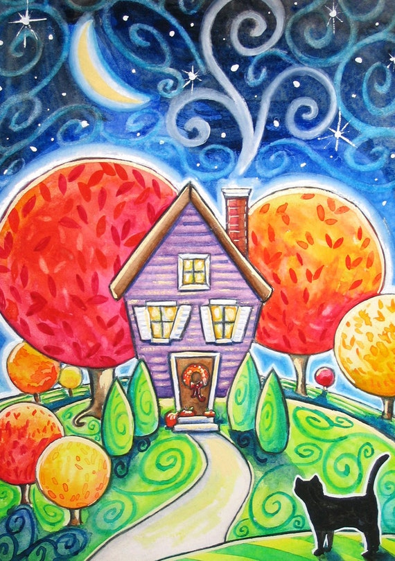 Autumn house 5x7 print black cat moon stars fall landscape for Different types of paint for art