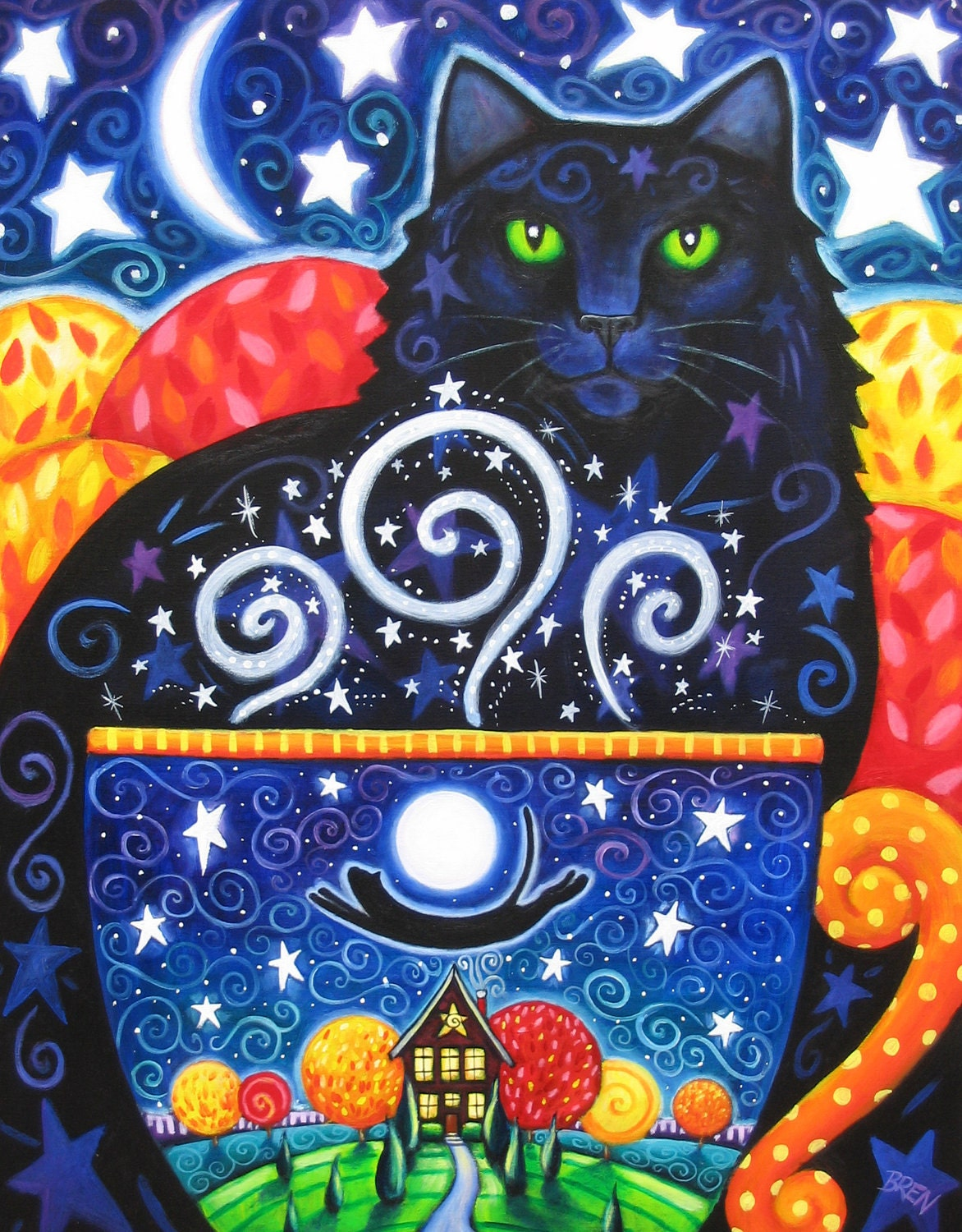 Autumn Magic 8x10 Colorful Black Cat Coffee Print