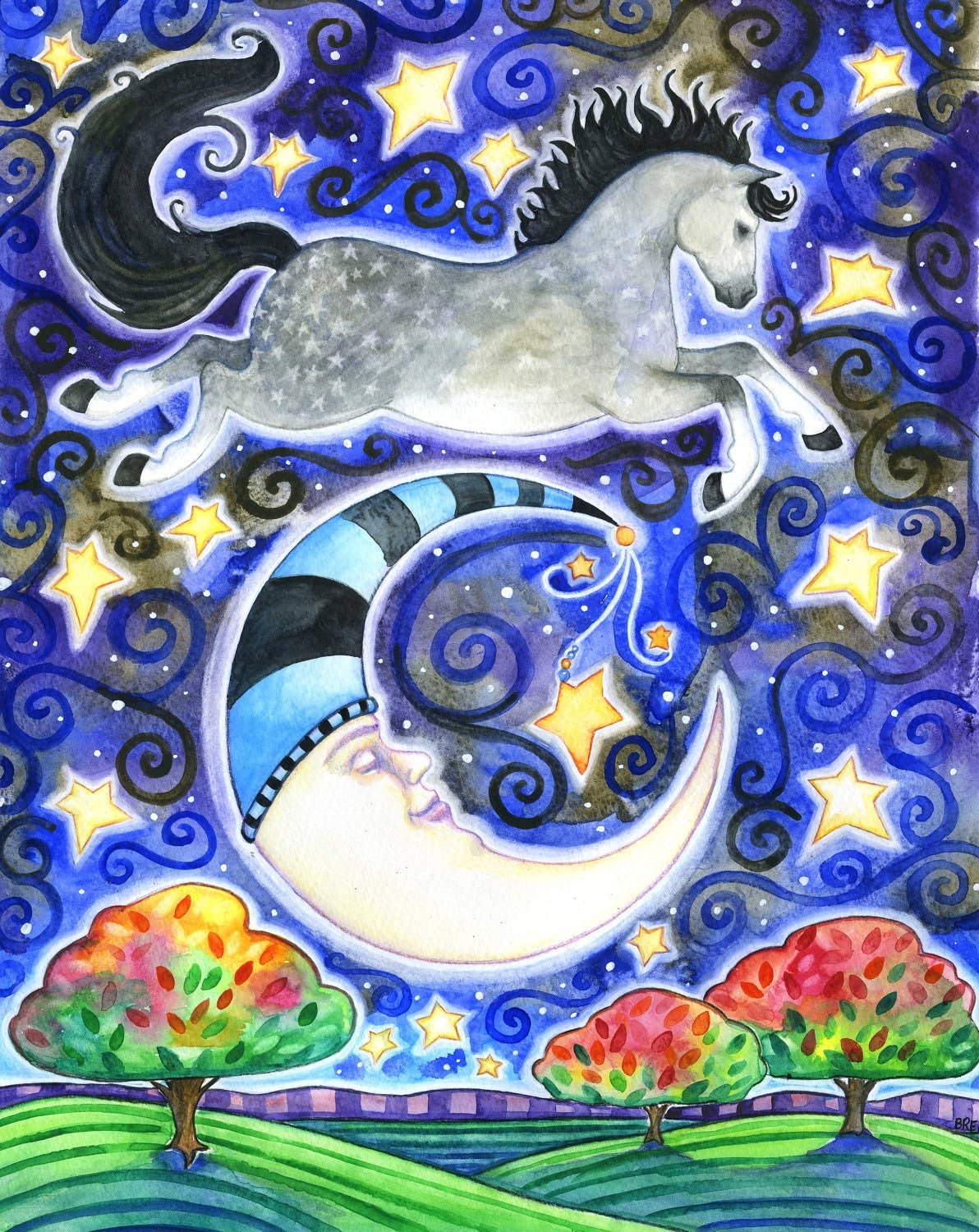 Over 8x10 Colorful Horse Moon Star Print