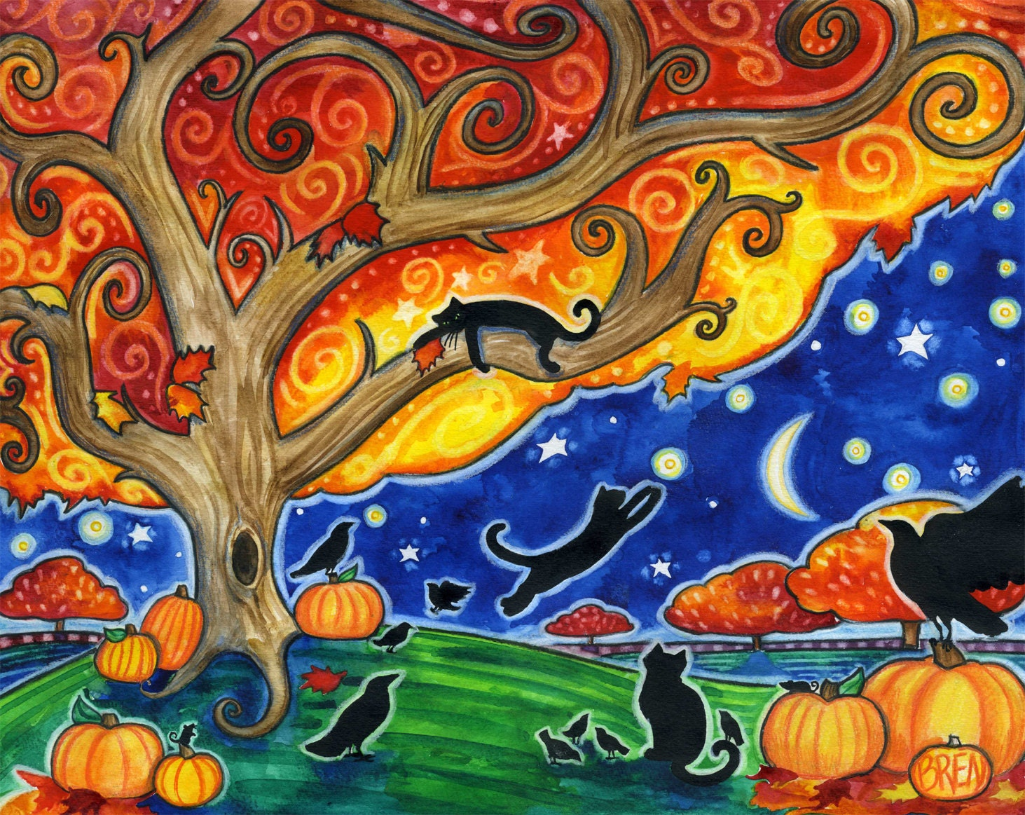 Shelter 8x10 Colorful Autumn Black Cats Moon Star Print