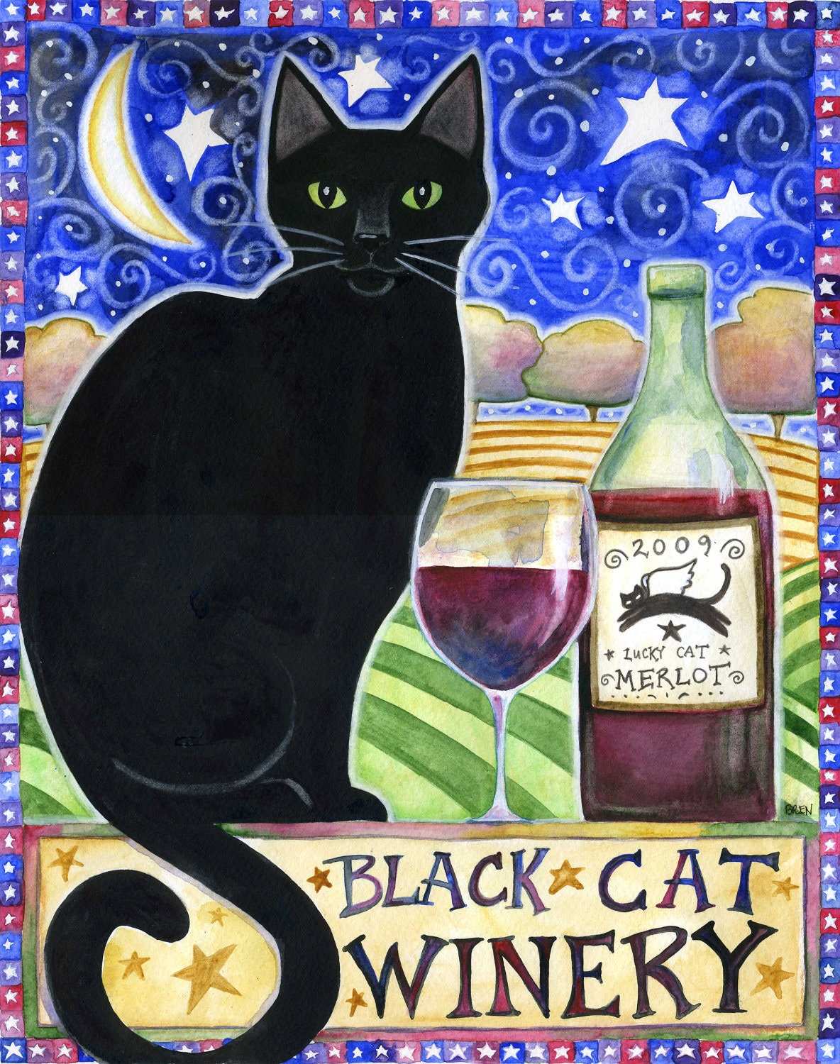Black Cat Winery 8x10 Black Cat Moon Star Wine Print