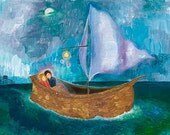 Secret Message 17x22 giclee print- romantic, girl, lovers, musical, sailing, boat, night, stars, city