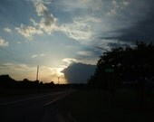 Sunset Storm Down Country Road Metallic Photo 5 x 7