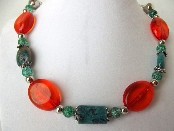 Turquoise Necklace, Teal and Orange Necklace, OOAK