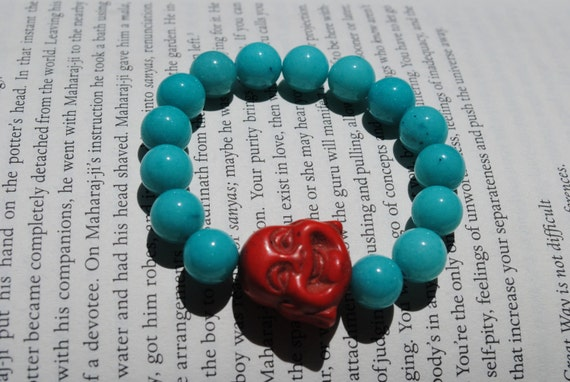 The Happy Buddha Bracelet in Red Turquoise