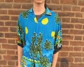 Hawaiian Style Mens Palms Moons Wigwams Beach Shirt