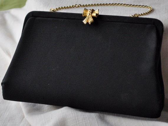 Sweet 1950s Black Clutch Handbag with a Gold Bow