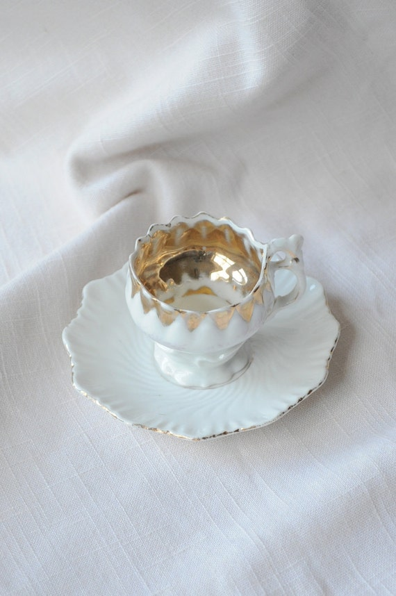 SALE Victorian German Rococo Revival Demitasse Cup and Saucer