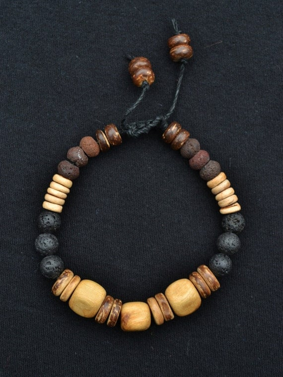 Men's Natural bracelet Juniper Wood Lava beads
