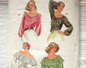 "Butterick Blouse Pattern No 5714 VIntage 1970s Sz Medium 12 14 Bust 34"" 36"" Peasant Long Raglan Sleeves Loose Fitting Off the Shoulder Gypsy"