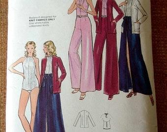 """Butterick Dress Pattern No 6896 Vintage 1970s Size 10 Bust 32 1/2"""" Cardigan Skirt Pants Bodysuit Knits Only"""