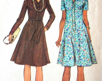 """Simplicity Dress Pattern No 6155 Vintage 1970s Size 18 Bust 40"""" Short or Long Sleeves Button Front Flared Skirt Open Collar"""