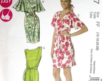 "McCalls Dress Pattern No M6277 UNCUT Laura Ashley Size FF 16 18 20 22 Bust 38"" 40"" 42"" 44""  2011 Sleeveless or Short Sleeves Side Zipper"