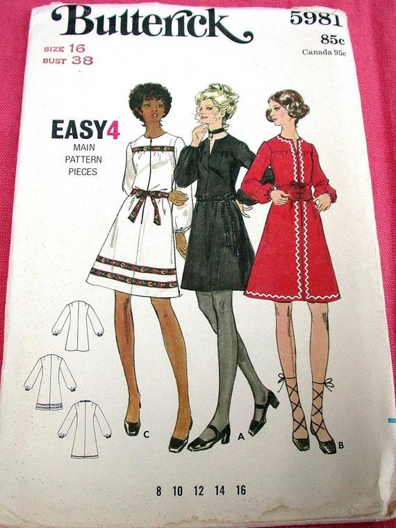 "Butterick Easy Dress Pattern No 5981 Size 16 Bust 38"" UNCUT Vintage 1960s One Piece Dress A Line Long Sleeves Jewel Neckline"