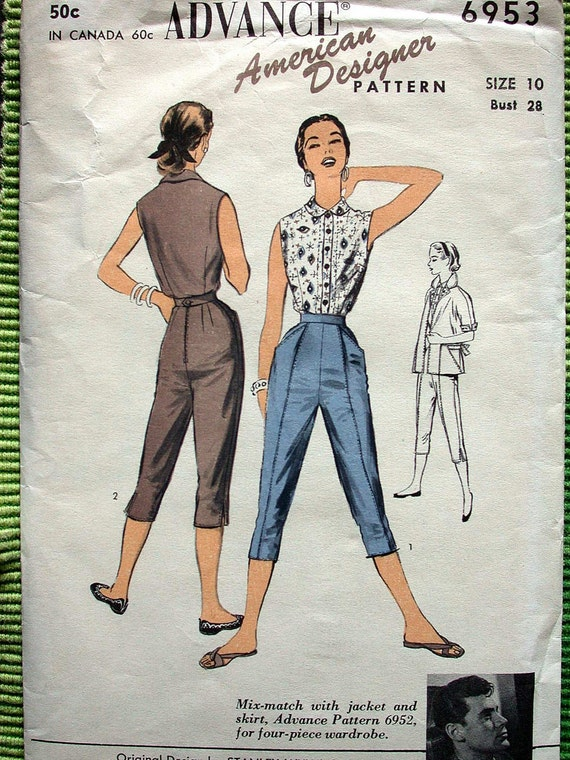 """Advance American Designer Pattern VIntage 1950s Stanley Wyllins 6953 Size 10 Bust 28"""" Tapered Pants Capris Sleeveless Blouse Pedal Pushers"""