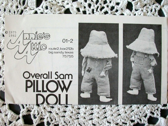 Annie's Attic Sunbonnet Sue & Overall Sam Pillow Doll Sewing Patterns 01-1 01-2 1983 Complete