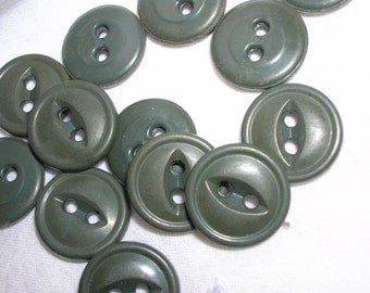 14 vintage olive green buttons