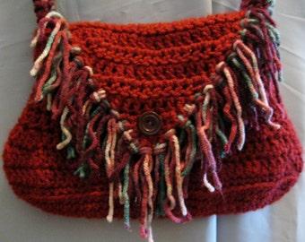 Crochet Cranberry shoulder purse