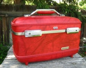 RESERVED American Tourister Red Travel Train Case - Vintage Red Marbled Train Case