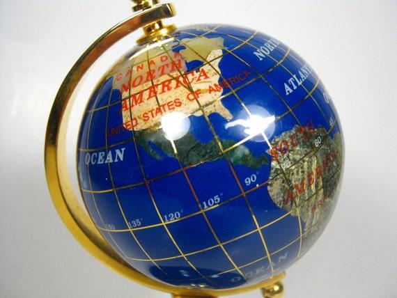 Blue Lapis Small World Globe with Inlaid Semi-Precious Stones - Stone World Globe