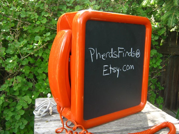 Vintage Orange Push Button Telephone with Chalkboard Case - Vintage Orange Wall Telephone