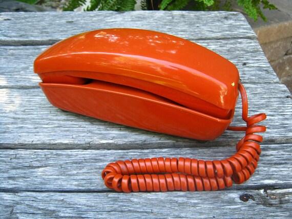 Vintage Orange Rotary Dial Telephone - Orange Trimline Telephone