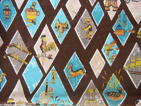 Mid Century Brown, Turquoise and Orange Fabric - Vintage Sports Themed Fabric