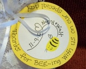 10 Thank You Wedding Favor Tags Custom Wedding Favor Tags Honey BEE Yellow Wedding and White Personalized for Free