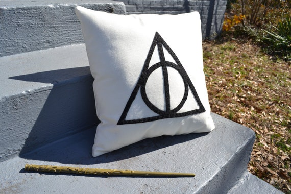 harry potter deathly hallows throw pillow
