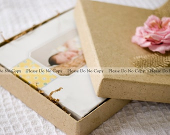 8x8 Storage or Packaging Box : Handmade Paper Box in Natural