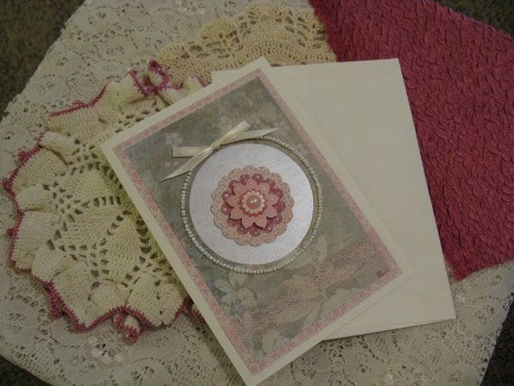 Beaded Victorian Card Handstitched