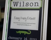 PERSONALIZED/Custom PICTURE frame MATTING Baby Boy alligator- matting only