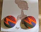 Fabric Covered Earrings: African Zig-Zag Print