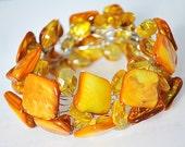 Golden Shell Bracelet- Golden Flat Mother of Pearl And Golden Crystal Bracelet (B0173)