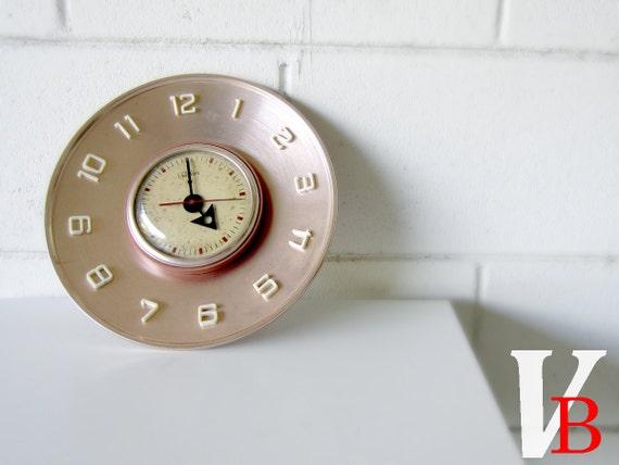Vintage Telekron Copper Wall Clock - Retro Mod Decor
