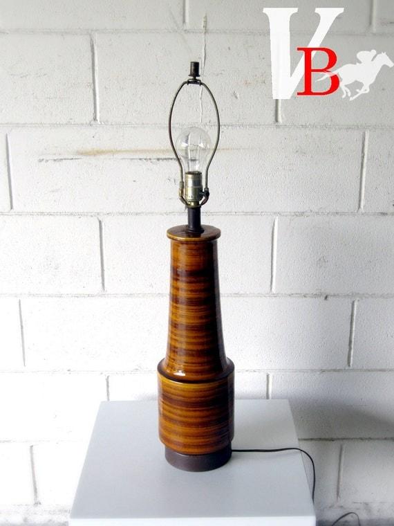 Vintage Ceramic High-Gloss Orange and Brown Lamp - 1970s Retro