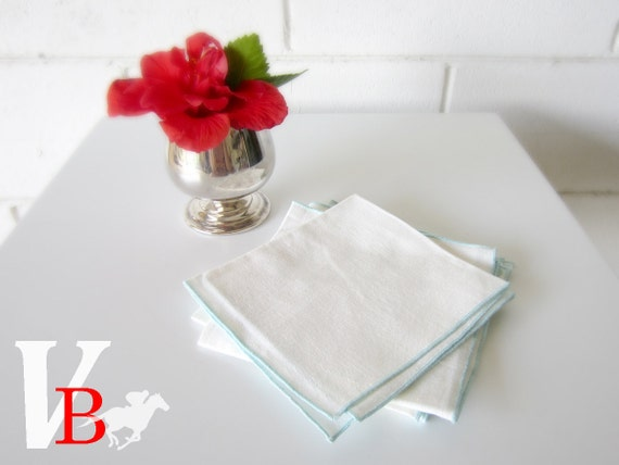 10% OFF Sale - Set of 4 Vintage Linen or Cotton Napkins with Turquoise Contrast Stitching - Perfect for Entertaining