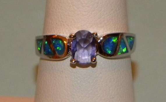 Amethyst and Australian Fire Opal Ring Sterling Silver 925 Band Size 7 Fabulous Flash